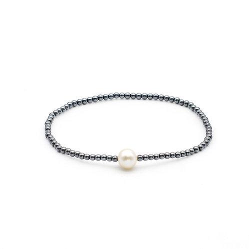 Silm H-6-7mm 淡水珍珠配黑膽石手鏈