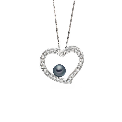Girl's Heart - 淡水珍珠 配 925 銀鑲白鋯石吊墜