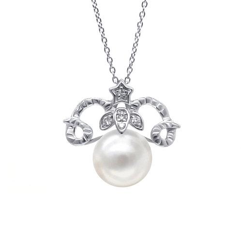 白羊座/Aries-14K/585 白金鑲鑽石配淡水珍珠吊墜