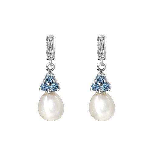 Bleue- 淡水珍珠配925銀鑲藍色鋯石耳環