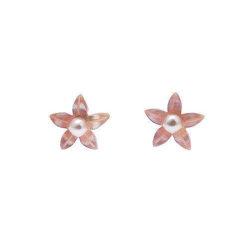 雞蛋花- 珍珠貝及淡水珍珠純銀耳環