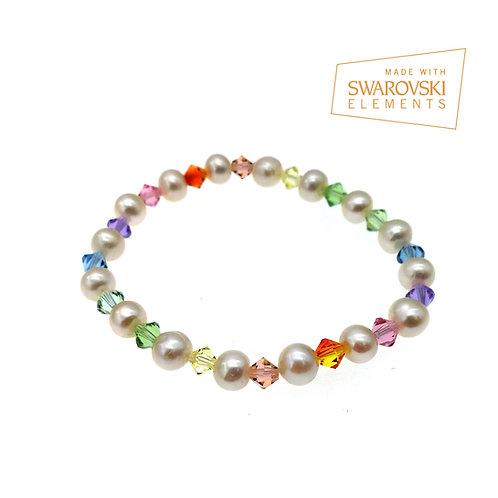 彩虹系列- Hue 淡水珍珠彈性手鏈