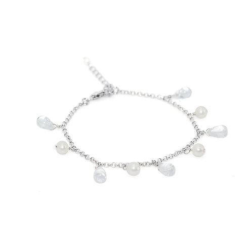 rainny- 4-5mm 淡水珍珠配水晶925銀手鏈