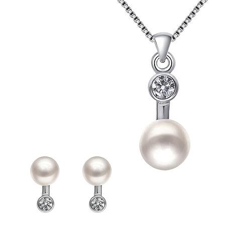 Star Wishes-925 純銀鑲白鋯石配淡水珍珠套裝