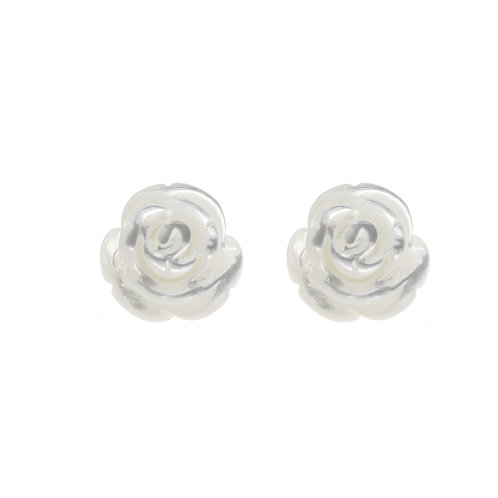 Rose- 925 純銀配珍珠貝耳環