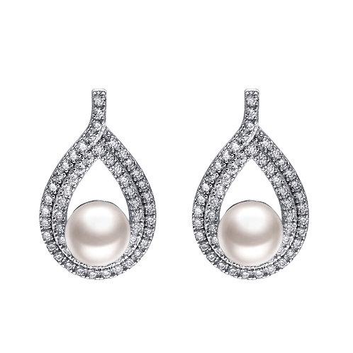 Moment-925 純銀配淡水珍珠鑲白鋯石耳環