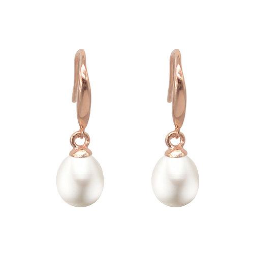 玫瑰金色純銀淡水珍耳環