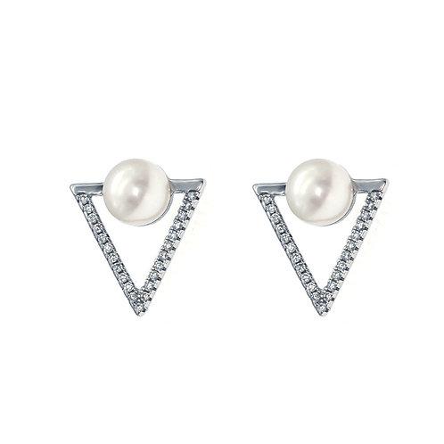 TRY- 925 純銀鑲白鋯石配淡水珍珠耳環