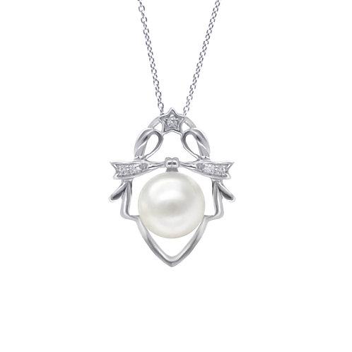 雙子座/Gemini-14K/585 白金鑲鑽石配淡水珍珠吊墜