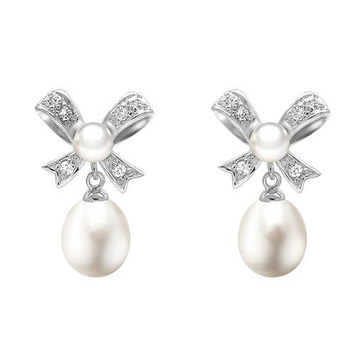 禮物- 925 純銀鑲白鋯石配淡水珍珠耳環