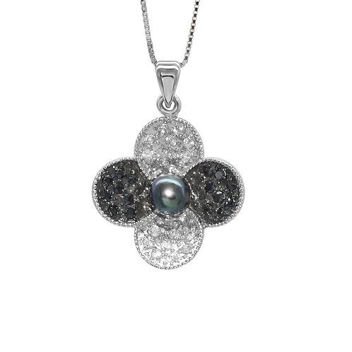 Blossom- 5-6mm 淡水珍珠配925銀鑲黑白鋯石吊墜