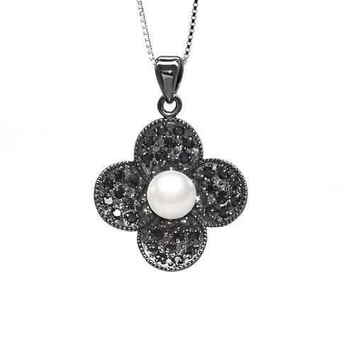Blossom- 5-6mm 淡水珍珠配925銀鑲黑鋯石吊墜