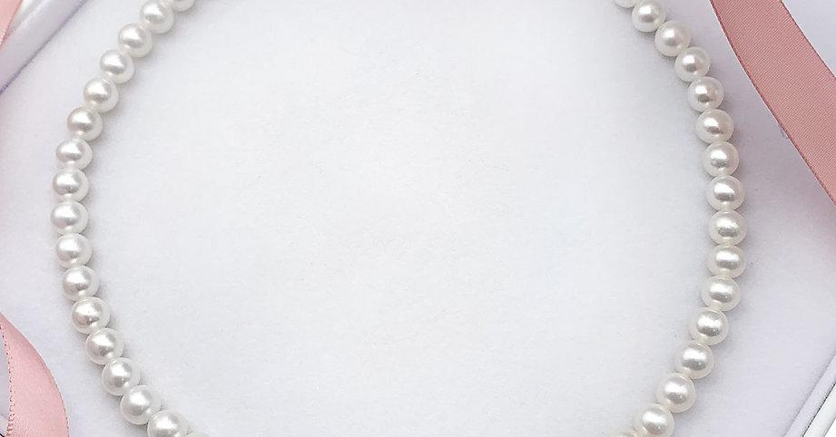 母親節禮物- 7-8mm淡水珍珠配日本925銀扣18英寸頸鏈