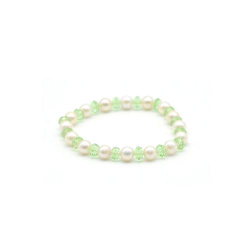 Spring-淡水珍珠配 水晶手鏈