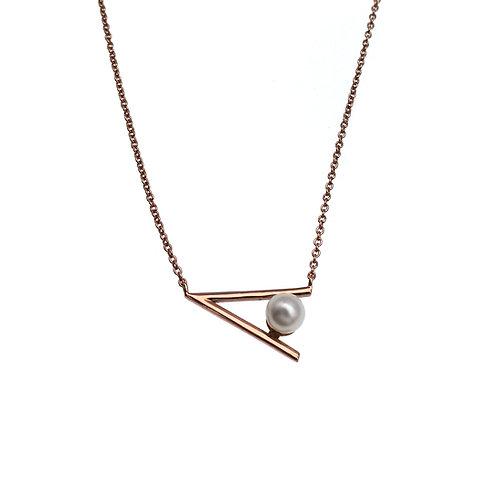 V-925 純銀鍍玫瑰金配淡水珍珠頸鏈