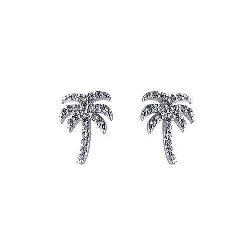 椰樹-925 純銀鑲白鋯石耳環