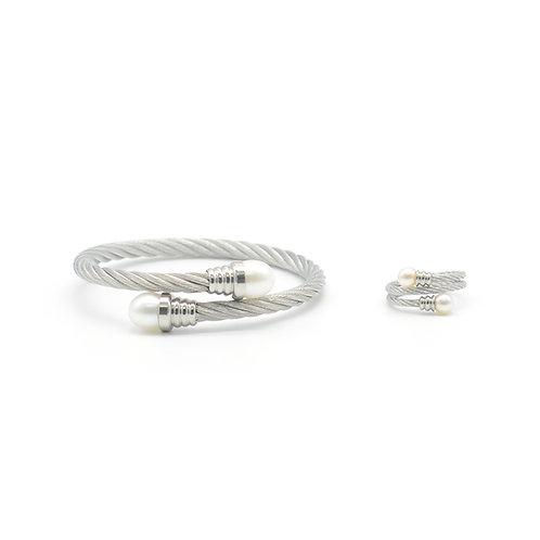 Twins-淡水珍珠鋼鈪 和 戒指套裝