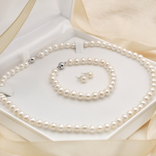 6-7mm淡水珍珠純銀禮物套裝
