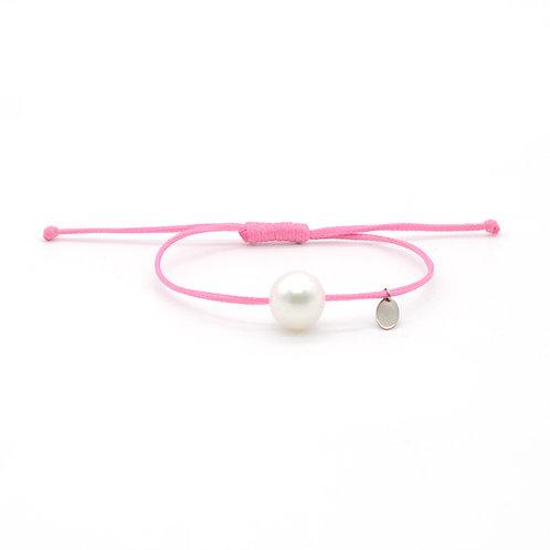 淡水珍珠配粉紅色蠟繩手鏈