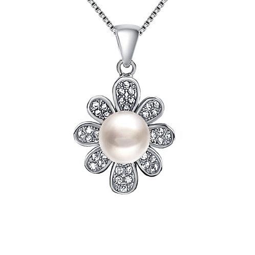 Bellis- 925 純銀鑲白鋯石配淡水珍珠吊墜連頸鏈