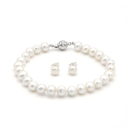 6-7mm淡水珍珠純銀手鏈及耳環禮物套裝