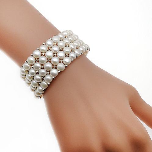 Catherine - 白色淡水珍珠 配 925 純銀手鏈