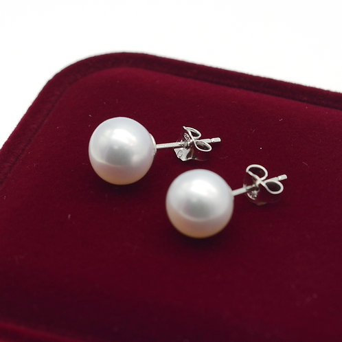 9-10mm 圓形淡水珍珠配925純銀耳環
