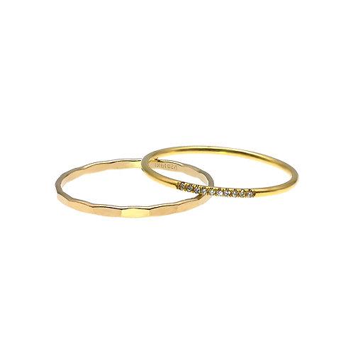 14K包金 (1/20)鑲白鋯石戒指二件裝