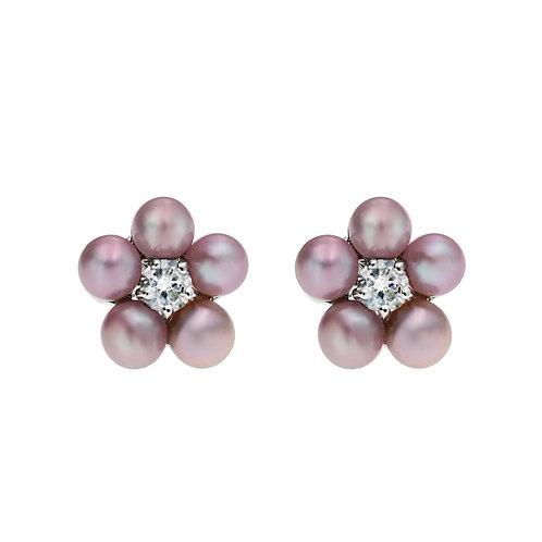 Hana- 925 純銀鑲白鋯石配養殖淡水珍珠耳環