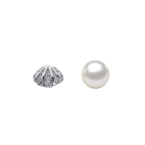 珍珠-925純銀鑲白鋯石不對稱耳環