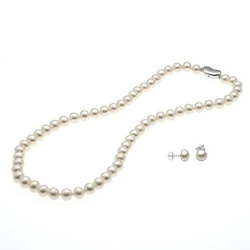 禮物套裝- 淡水珍珠頸鏈配925純銀耳環
