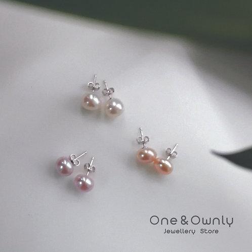 糖果色 9-10mm (面包形) 淡水珍珠純銀耳環2對禮物套裝