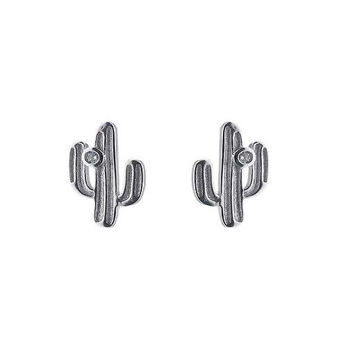 仙人掌-925 純銀鑲白鋯石耳環