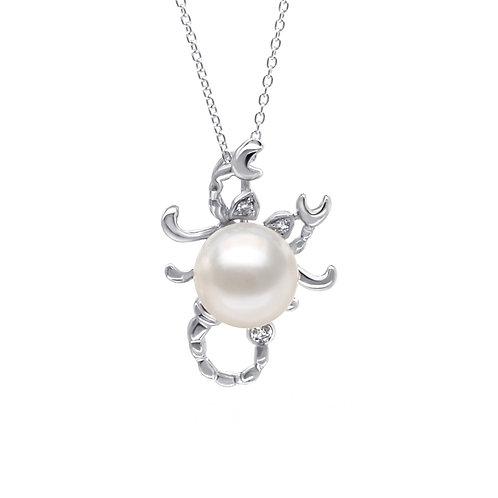 天蠍座/Scoripio-14K/585 白金鑲天然鑽石配淡水珍珠吊墜