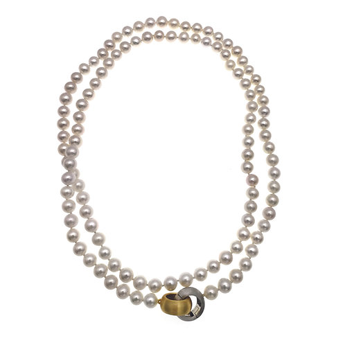 Infinity-7-8mm 淡水珍珠配925純銀磨沙扣32英寸長鏈 (近圓)