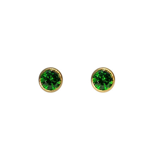 14K包金 (1/20) 鑲綠色鋯石耳環