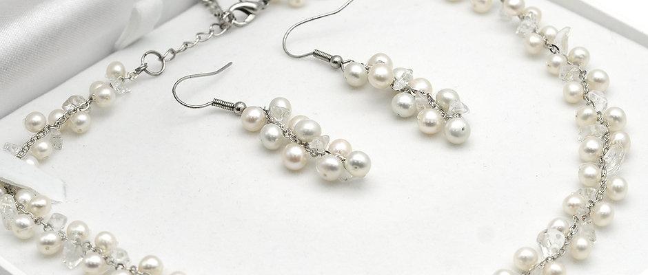 珍珠套裝-淡水珍珠水晶織鏈配耳環