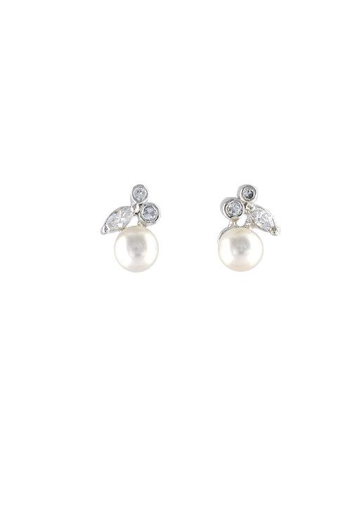 Pearl fruit  純銀淡水珍珠鋯石耳環