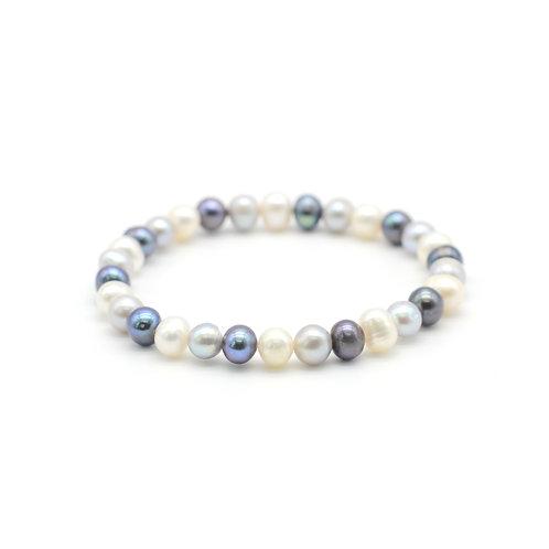 黑白灰色淡水珍珠手鏈