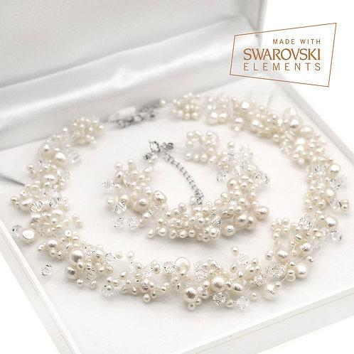 Pure- 婚嫁淡水珍珠配施華洛世奇水晶頸鏈及手鏈套裝