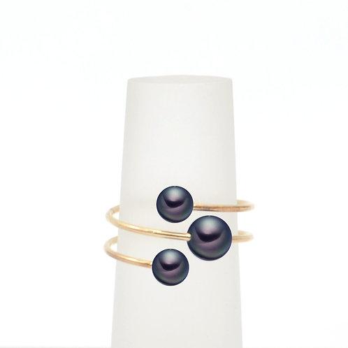bubble ring-14K金包金線淡水珍珠戒指