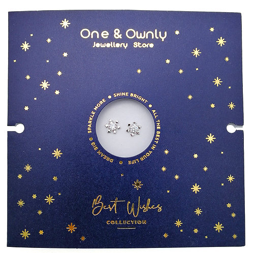 Snowflake -925 純銀鑲白鋯石耳環