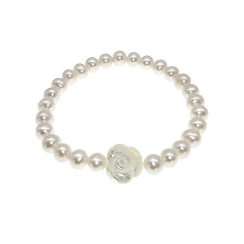 White- 淡水珍珠及珍珠貝彈性手鏈
