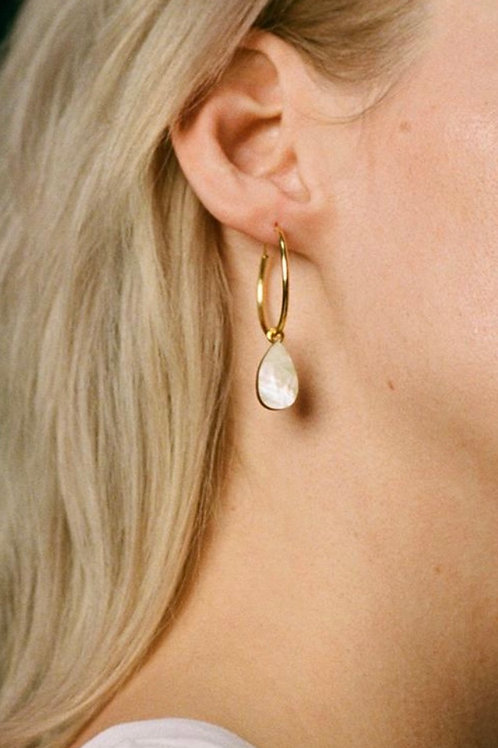 Raindrop Hoops in Mother of Pearl