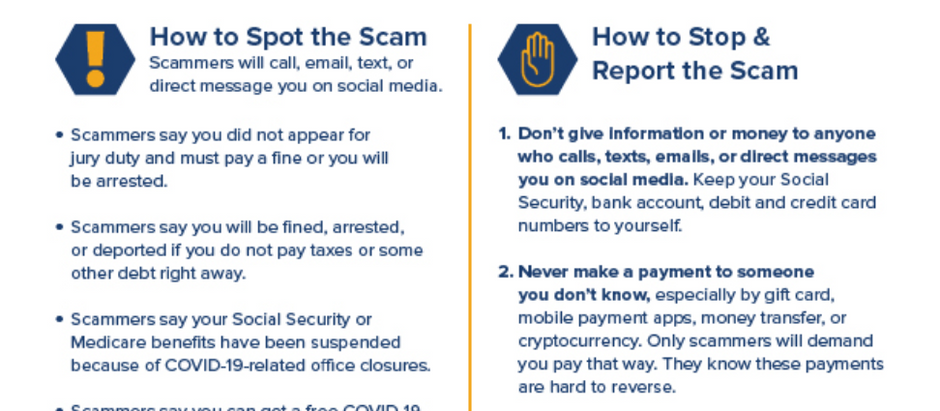How to Spot, Stop, and Report Government Imposter Scams Infographic