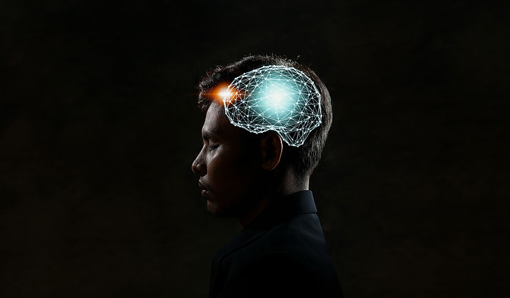Human head and brain.Artificial Intellig