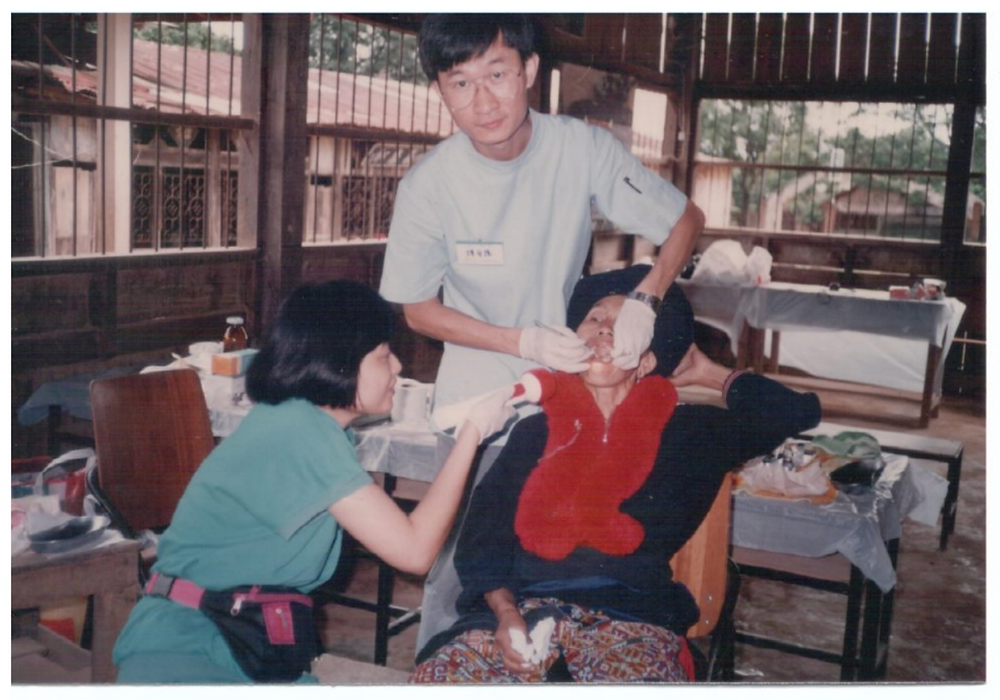 Stephen (center) doing medical ministry work in northern Thailand (1989).