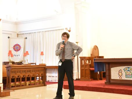 恩光書院院長梁永泰博士於2019年9月13日出席「聖公會諸聖中學」中一至中五週會
