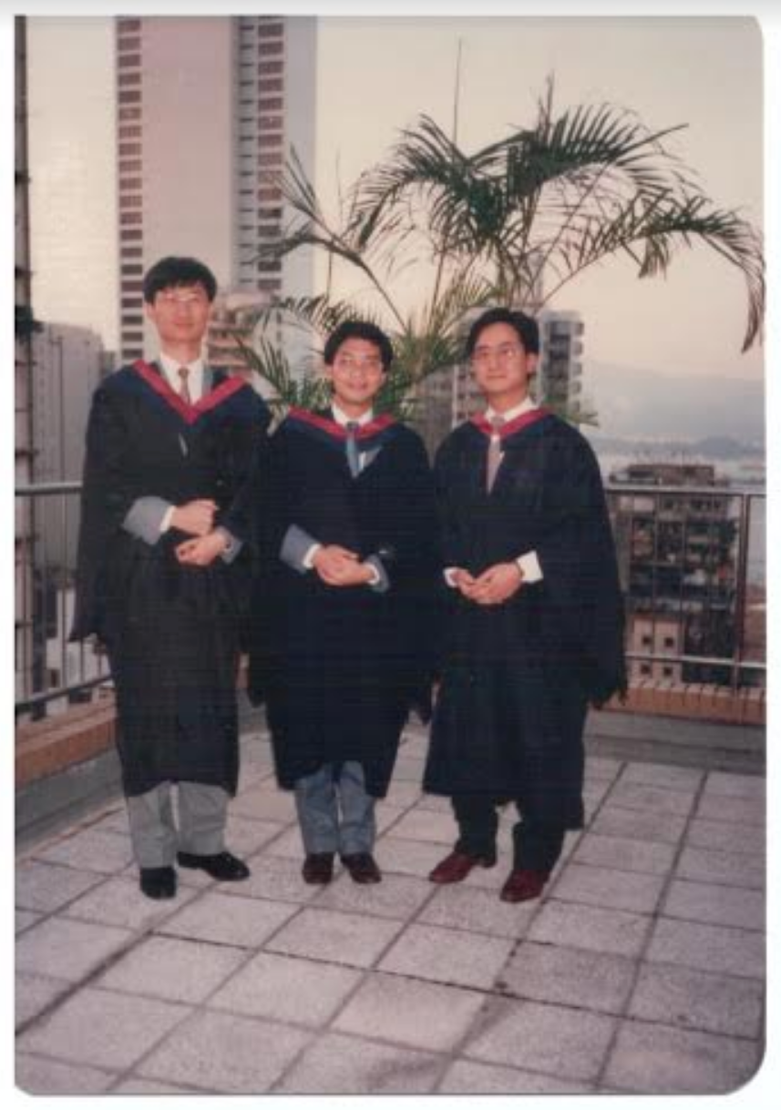 Stephen (left) at his university graduation (1986).