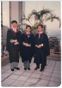 Stephen (left) at his university graduation (1986).